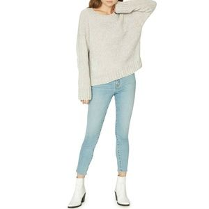 Anthropologie Chenille Silver Pullover Sweater